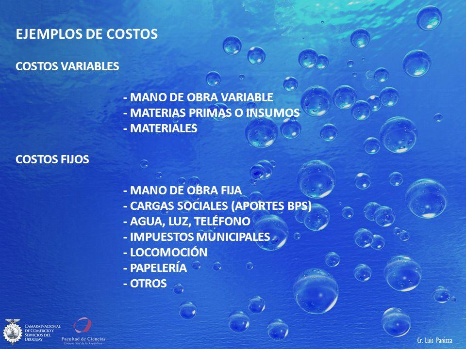 EJEMPLOS DE COSTOS COSTOS VARIABLES - MANO DE OBRA VARIABLE - MATERIAS PRIMAS O INSUMOS - MATERIALES COSTOS FIJOS - MANO DE OBRA FIJA - CARGAS SOCIALES (APORTES BPS) - AGUA, LUZ, TELÉFONO - IMPUESTOS MUNICIPALES - LOCOMOCIÓN - PAPELERÍA - OTROS