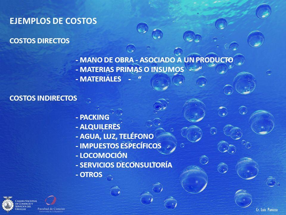 EJEMPLOS DE COSTOS COSTOS DIRECTOS - MANO DE OBRA - ASOCIADO A UN PRODUCTO - MATERIAS PRIMAS O INSUMOS - - MATERIALES - COSTOS INDIRECTOS - PACKING - ALQUILERES - AGUA, LUZ, TELÉFONO - IMPUESTOS ESPECÍFICOS - LOCOMOCIÓN - SERVICIOS DECONSULTORÍA - OTROS