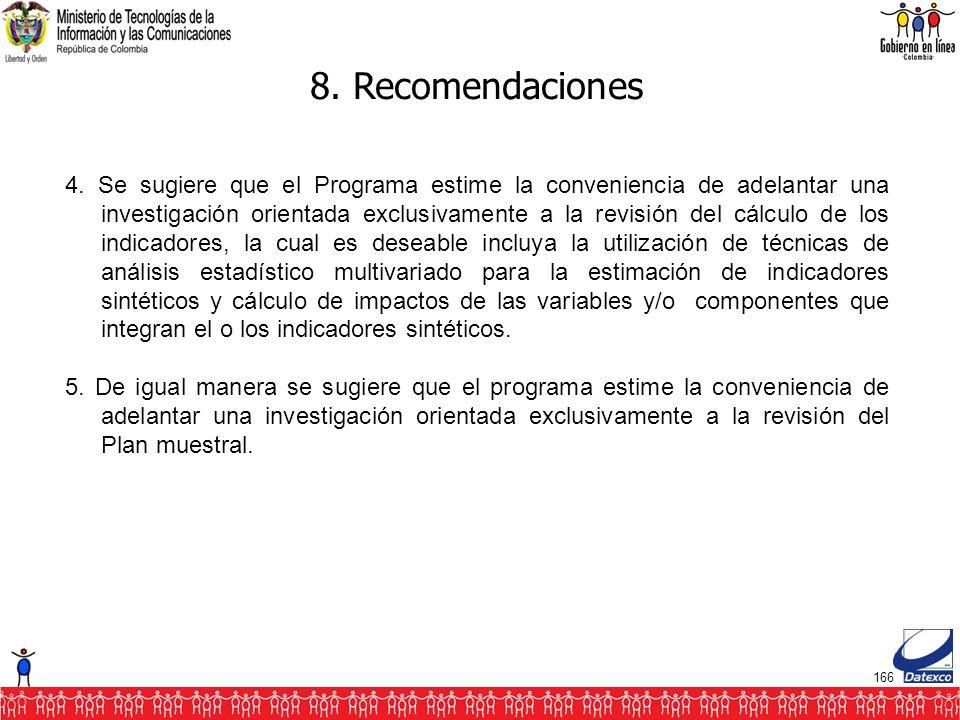 166 8. Recomendaciones 4.