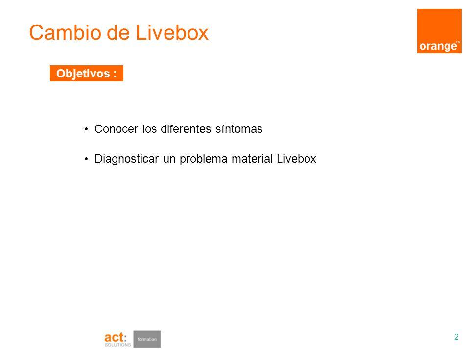 Cambio de Livebox 2 Diagnosticar un problema material Livebox Conocer los diferentes síntomas Objetivos :