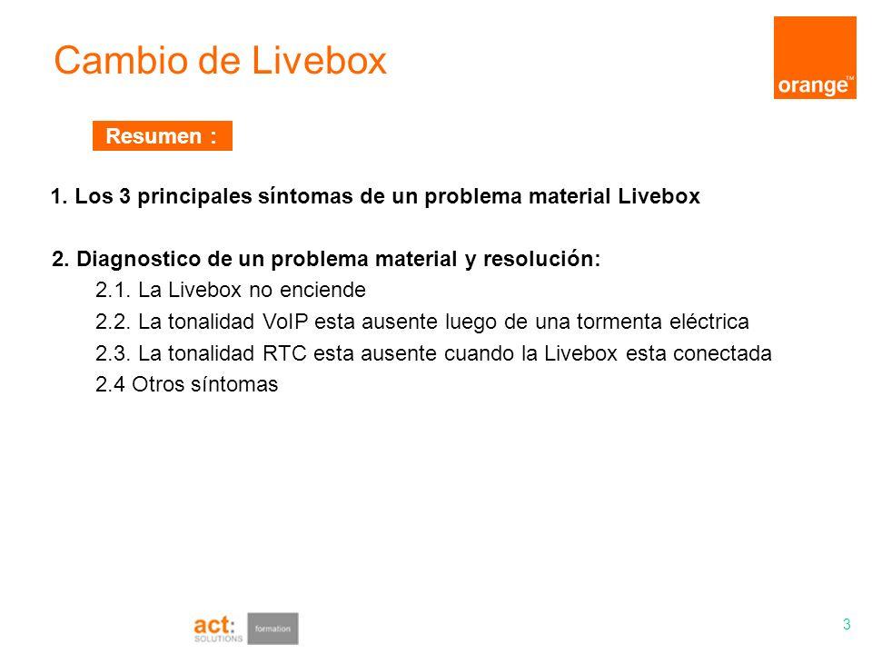 Cambio de Livebox 3 1. Los 3 principales síntomas de un problema material Livebox 2. Diagnostico de un problema material y resolución: 2.1. La Livebox