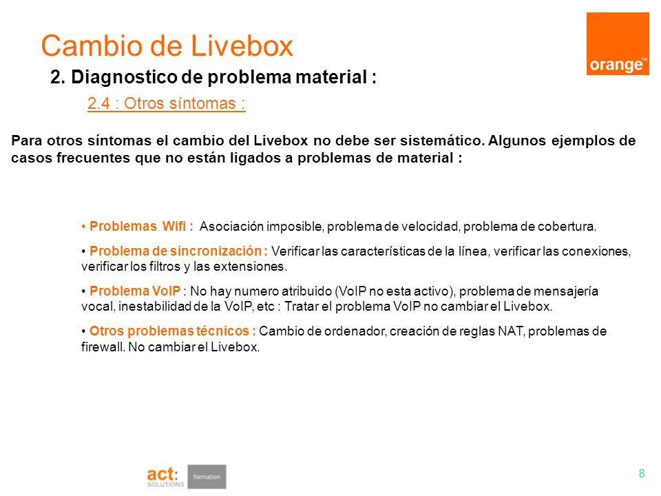 Cambio de Livebox 8 2.4 : Otros síntomas : 2. Diagnostico de problema material : Problemas Wifi : Asociación imposible, problema de velocidad, problem
