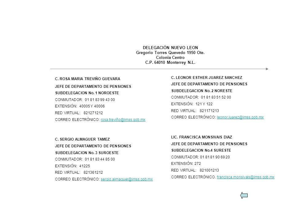 C. ROSA MARIA TREVIÑO GUEVARA JEFE DE DEPARTAMENTO DE PENSIONES SUBDELEGACION No. 1 NOROESTE CONMUTADOR: 01 81 83 99 43 00 EXTENSIÓN: 40005 Y 40006 RE