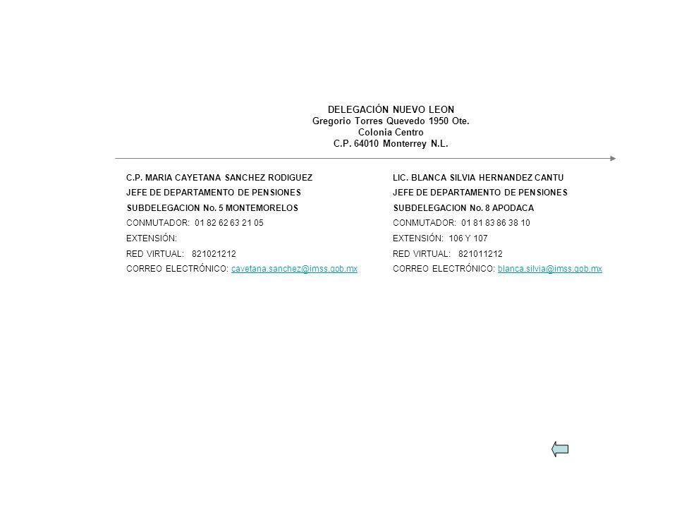 C.P. MARIA CAYETANA SANCHEZ RODIGUEZ JEFE DE DEPARTAMENTO DE PENSIONES SUBDELEGACION No. 5 MONTEMORELOS CONMUTADOR: 01 82 62 63 21 05 EXTENSIÓN: RED V