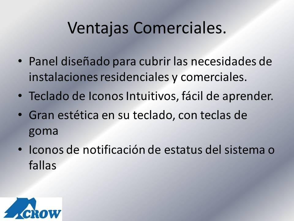 Ventajas Comerciales. Panel diseñado para cubrir las necesidades de instalaciones residenciales y comerciales. Teclado de Iconos Intuitivos, fácil de