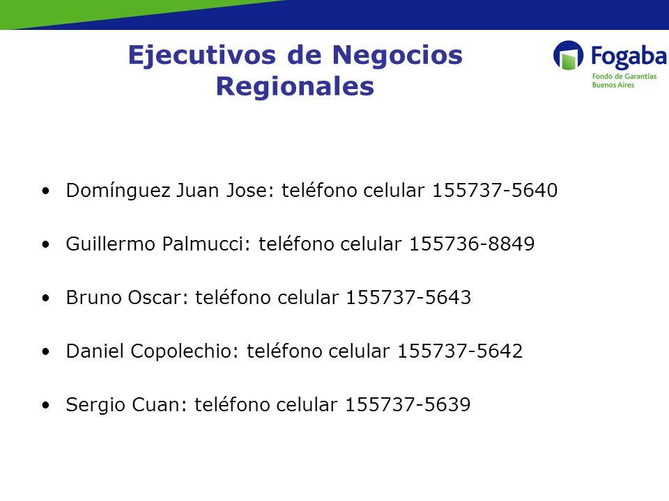 Ejecutivos de Negocios Regionales Domínguez Juan Jose: teléfono celular 155737-5640 Guillermo Palmucci: teléfono celular 155736-8849 Bruno Oscar: teléfono celular 155737-5643 Daniel Copolechio: teléfono celular 155737-5642 Sergio Cuan: teléfono celular 155737-5639