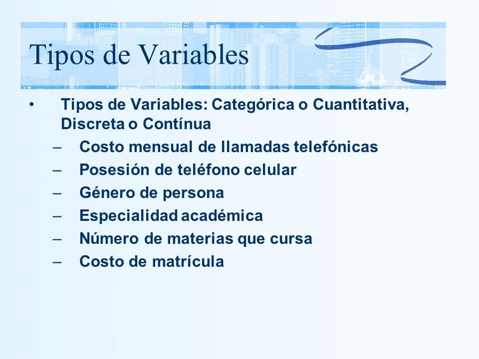 Tipos de Variables Tipos de Variables: Categórica o Cuantitativa, Discreta o Contínua –Costo mensual de llamadas telefónicas –Posesión de teléfono cel