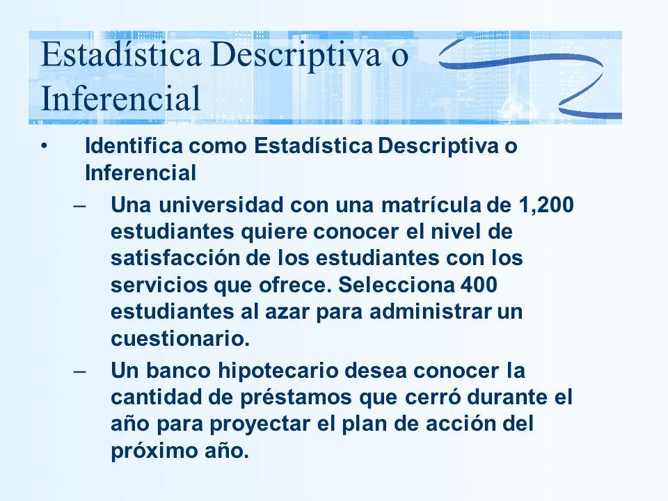 Estadística Descriptiva o Inferencial Identifica como Estadística Descriptiva o Inferencial –Una universidad con una matrícula de 1,200 estudiantes qu