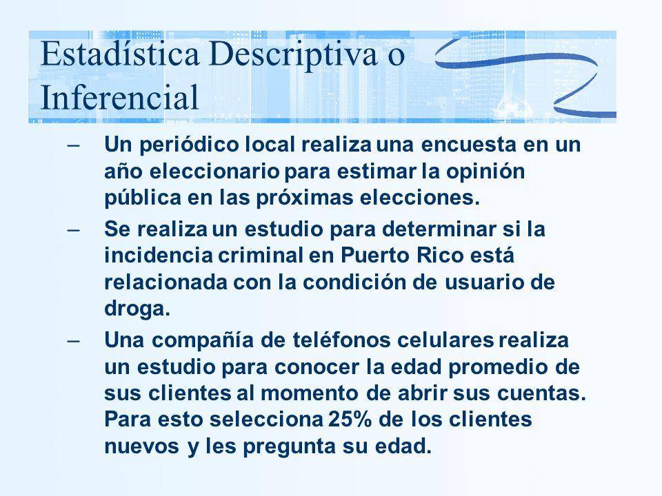 Estadística Descriptiva o Inferencial –Un periódico local realiza una encuesta en un año eleccionario para estimar la opinión pública en las próximas