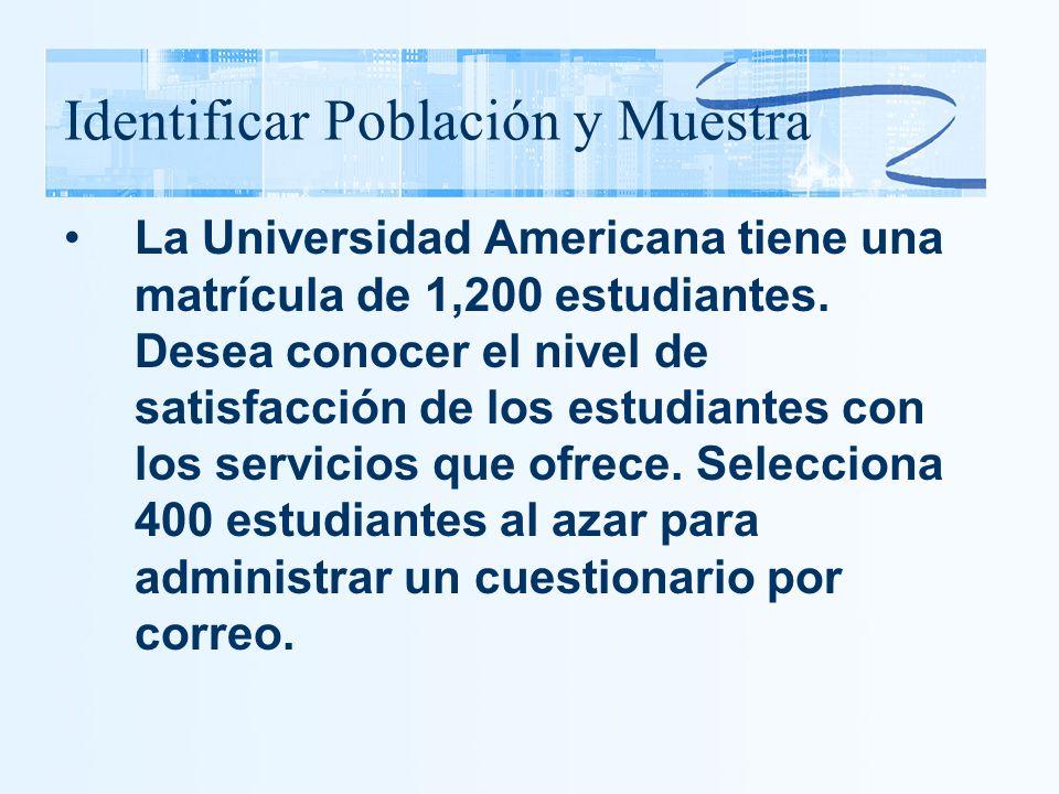 Identificar Población y Muestra La Universidad Americana tiene una matrícula de 1,200 estudiantes. Desea conocer el nivel de satisfacción de los estud
