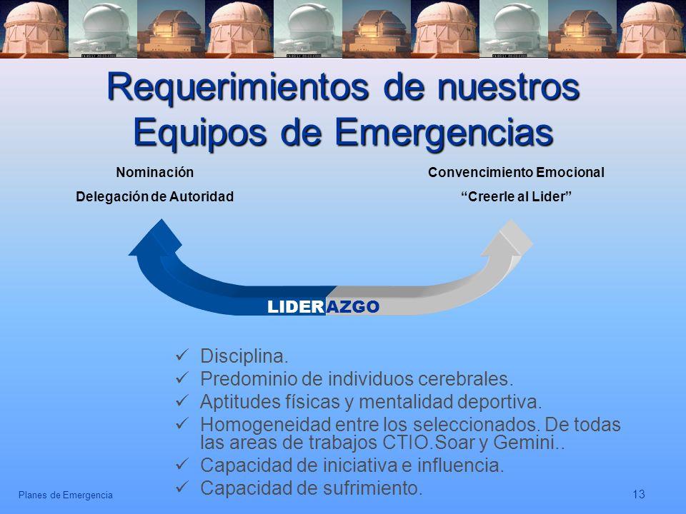 Planes de Emergencia 13 Requerimientos de nuestros Equipos de Emergencias Disciplina. Predominio de individuos cerebrales. Aptitudes físicas y mentali