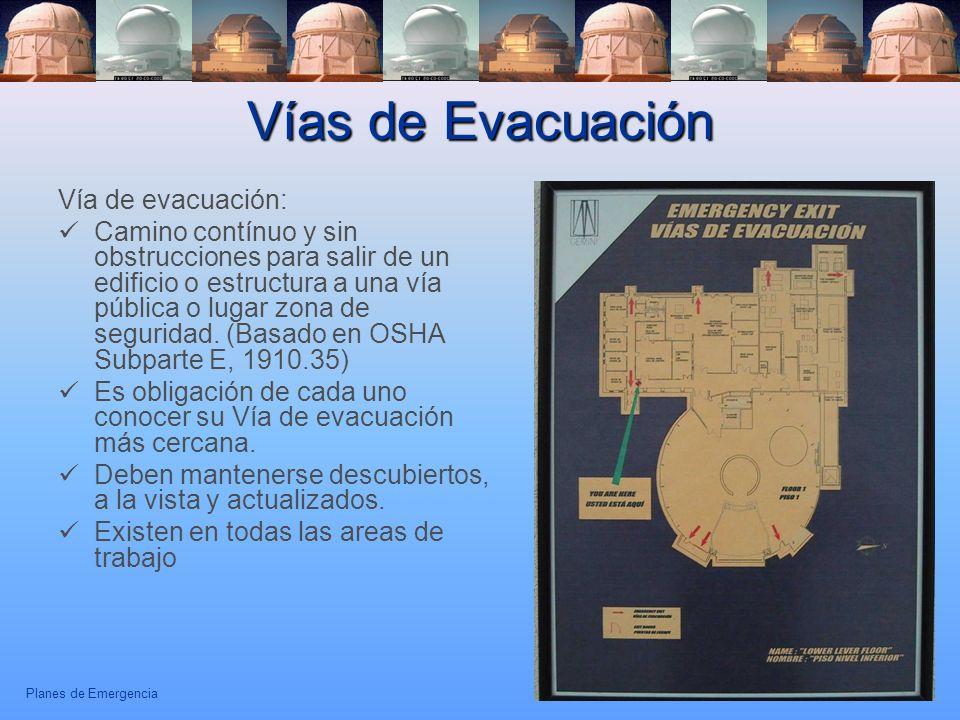 Planes de Emergencia 21 Vías de Evacuación Vía de evacuación: Camino contínuo y sin obstrucciones para salir de un edificio o estructura a una vía púb