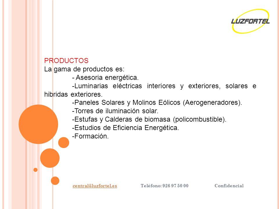 central@luzfortel.escentral@luzfortel.es Teléfono: 926 97 50 00 Confidencial PRODUCTOS La gama de productos es: - Asesoria energética.