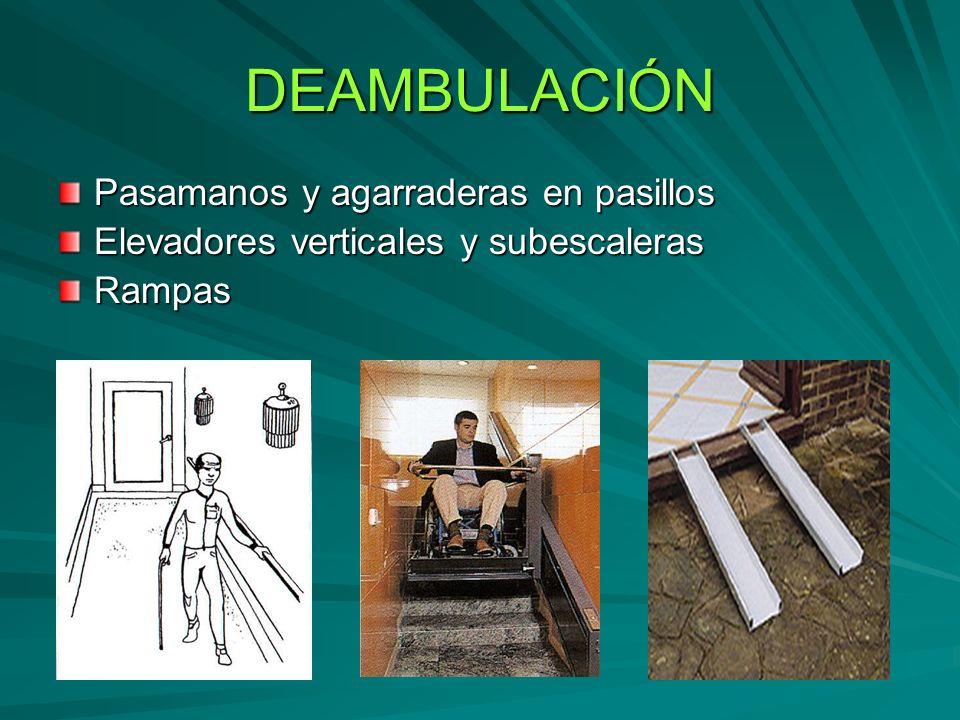 DEAMBULACIÓN Pasamanos y agarraderas en pasillos Elevadores verticales y subescaleras Rampas