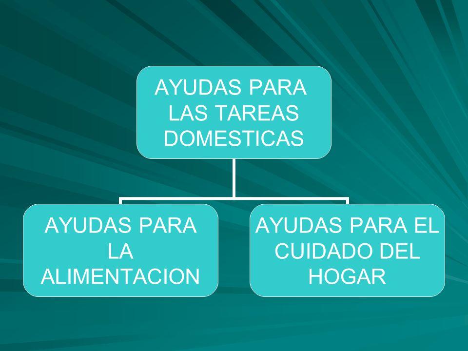 AYUDAS PARA LAS TAREAS DOMESTICAS AYUDAS PARA LA ALIMENTACION AYUDAS PARA EL CUIDADO DEL HOGAR