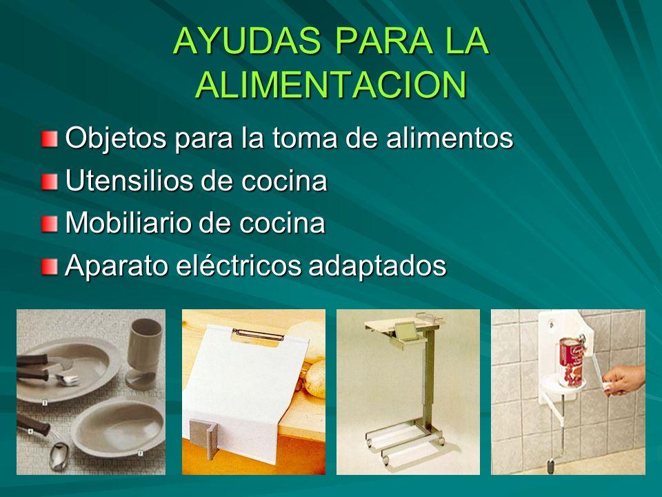 AYUDAS PARA LA ALIMENTACION Objetos para la toma de alimentos Utensilios de cocina Mobiliario de cocina Aparato eléctricos adaptados