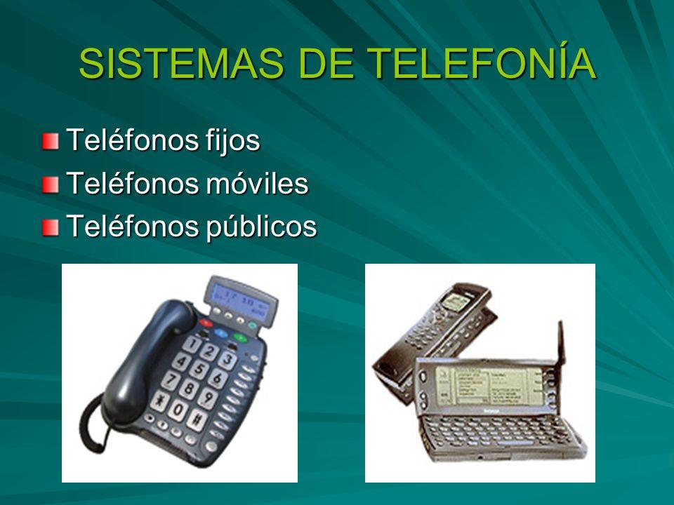 SISTEMAS DE TELEFONÍA Teléfonos fijos Teléfonos móviles Teléfonos públicos