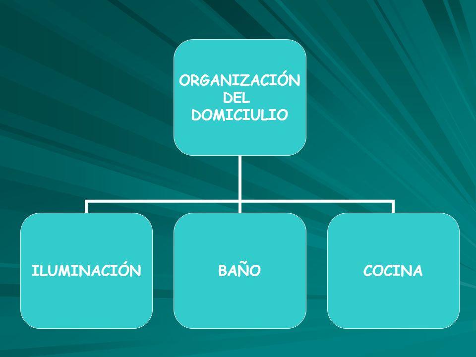 ORGANIZACIÓN DEL DOMICIULIO ILUMINACIÓNBAÑOCOCINA