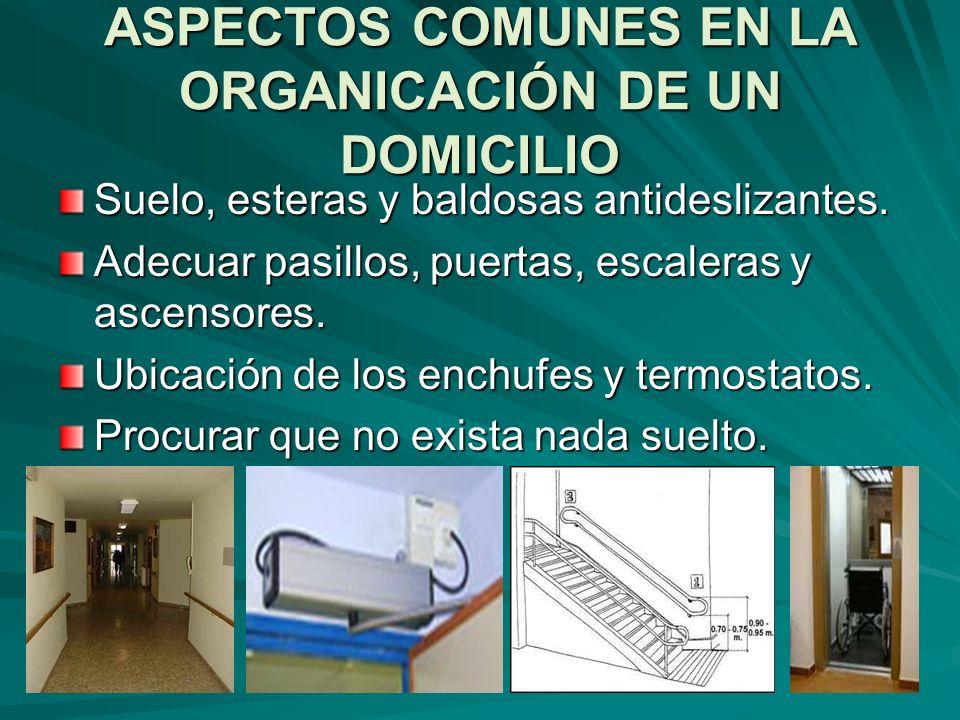 ASPECTOS COMUNES EN LA ORGANICACIÓN DE UN DOMICILIO Suelo, esteras y baldosas antideslizantes. Adecuar pasillos, puertas, escaleras y ascensores. Ubic