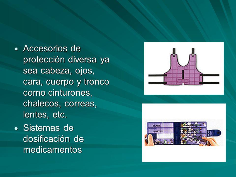 Accesorios de protección diversa ya sea cabeza, ojos, cara, cuerpo y tronco como cinturones, chalecos, correas, lentes, etc. Accesorios de protección