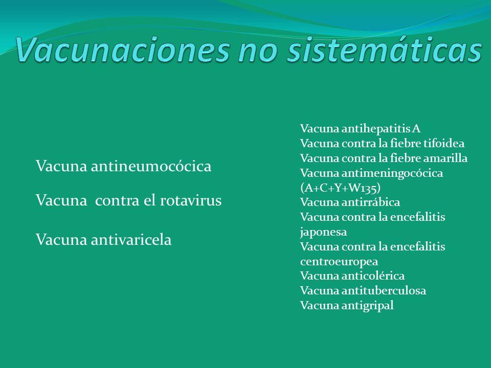Vacuna antihepatitis A Vacuna contra la fiebre tifoidea Vacuna contra la fiebre amarilla Vacuna antimeningocócica (A+C+Y+W135) Vacuna antirrábica Vacu