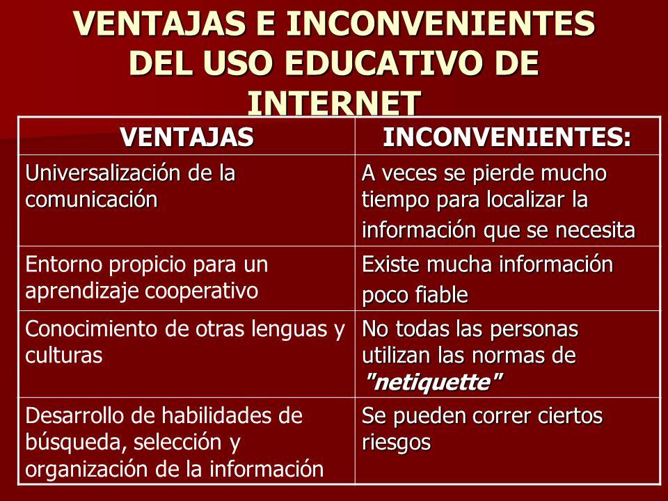 VENTAJAS E INCONVENIENTES DEL USO EDUCATIVO DE INTERNET VENTAJASINCONVENIENTES: Universalización de la comunicación A veces se pierde mucho tiempo par