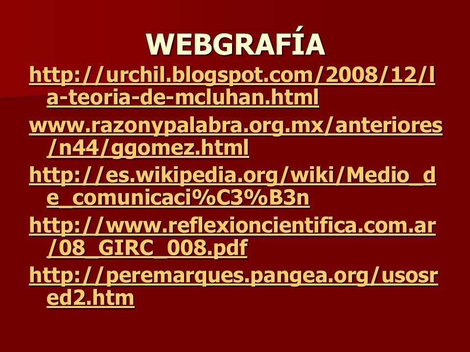 WEBGRAFÍA http://urchil.blogspot.com/2008/12/l a-teoria-de-mcluhan.html http://urchil.blogspot.com/2008/12/l a-teoria-de-mcluhan.html www.razonypalabr