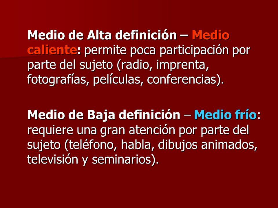 Medio de Alta definición – Medio caliente: permite poca participación por parte del sujeto (radio, imprenta, fotografías, películas, conferencias). Me