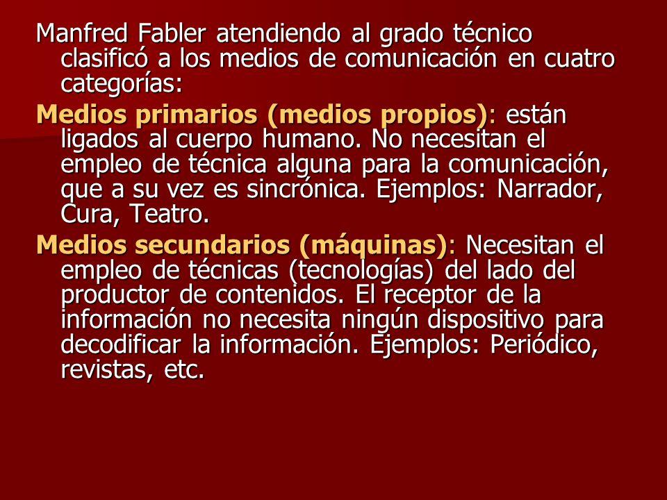 Manfred Fabler atendiendo al grado técnico clasificó a los medios de comunicación en cuatro categorías: Medios primarios (medios propios): están ligad