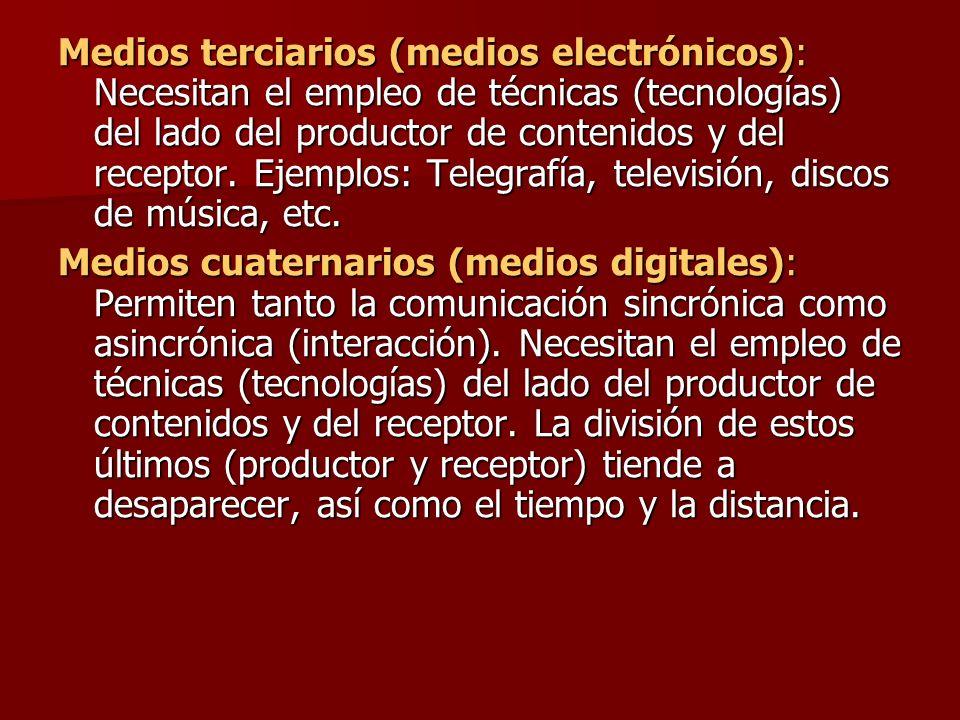 Medios terciarios (medios electrónicos): Necesitan el empleo de técnicas (tecnologías) del lado del productor de contenidos y del receptor. Ejemplos: