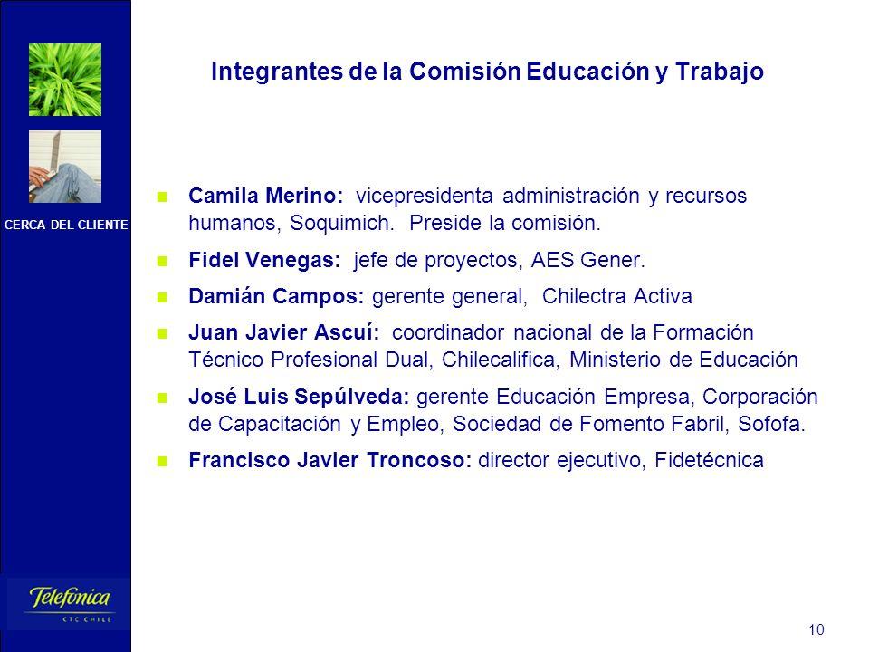 CERCA DEL CLIENTE 10 Integrantes de la Comisión Educación y Trabajo Camila Merino: vicepresidenta administración y recursos humanos, Soquimich. Presid