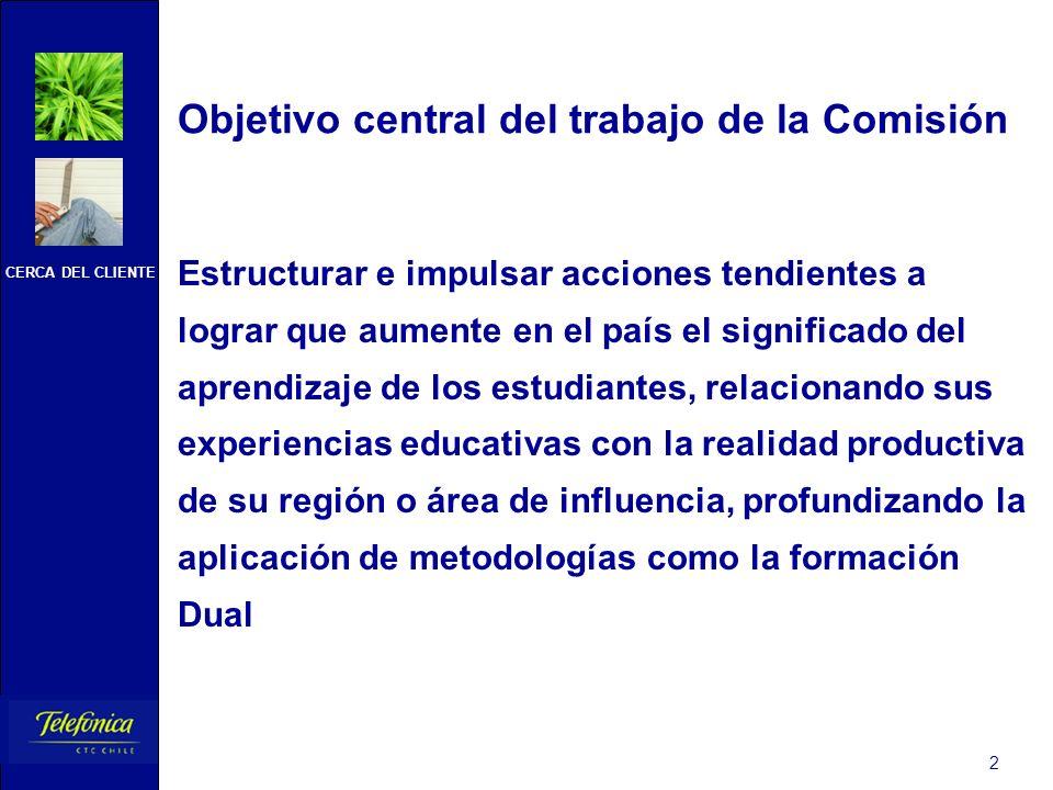 CERCA DEL CLIENTE 2 Objetivo central del trabajo de la Comisión Estructurar e impulsar acciones tendientes a lograr que aumente en el país el signific