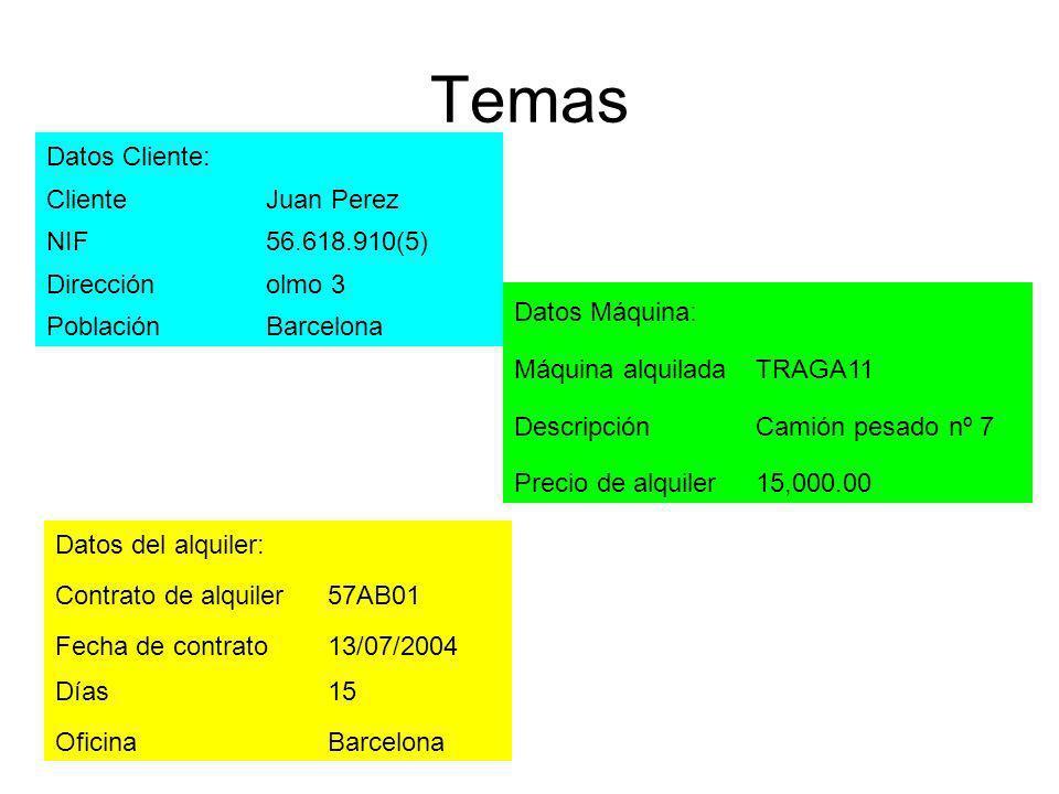 Temas Datos Cliente: ClienteJuan Perez NIF56.618.910(5) Direcciónolmo 3 PoblaciónBarcelona Datos Máquina: Máquina alquiladaTRAGA11 DescripciónCamión p