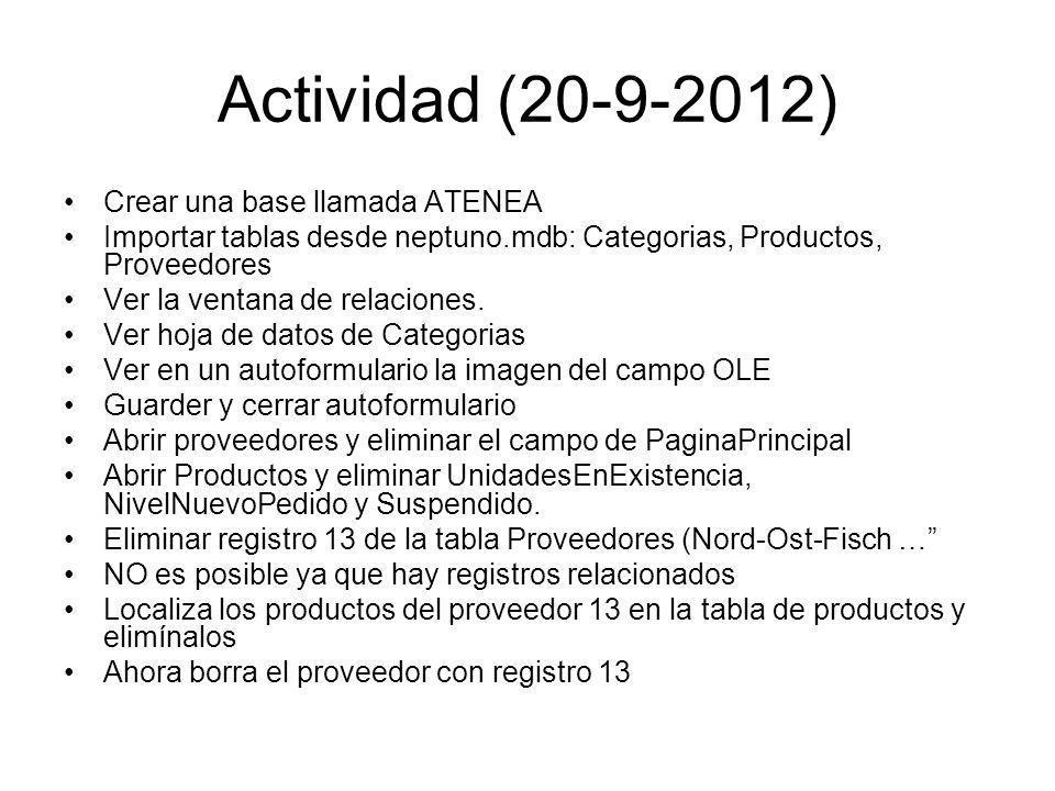 Actividad (20-9-2012) Crear una base llamada ATENEA Importar tablas desde neptuno.mdb: Categorias, Productos, Proveedores Ver la ventana de relaciones.