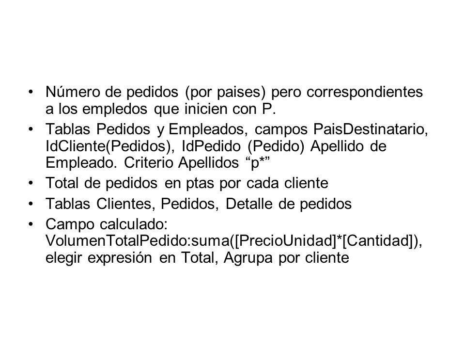 Número de pedidos (por paises) pero correspondientes a los empledos que inicien con P. Tablas Pedidos y Empleados, campos PaisDestinatario, IdCliente(