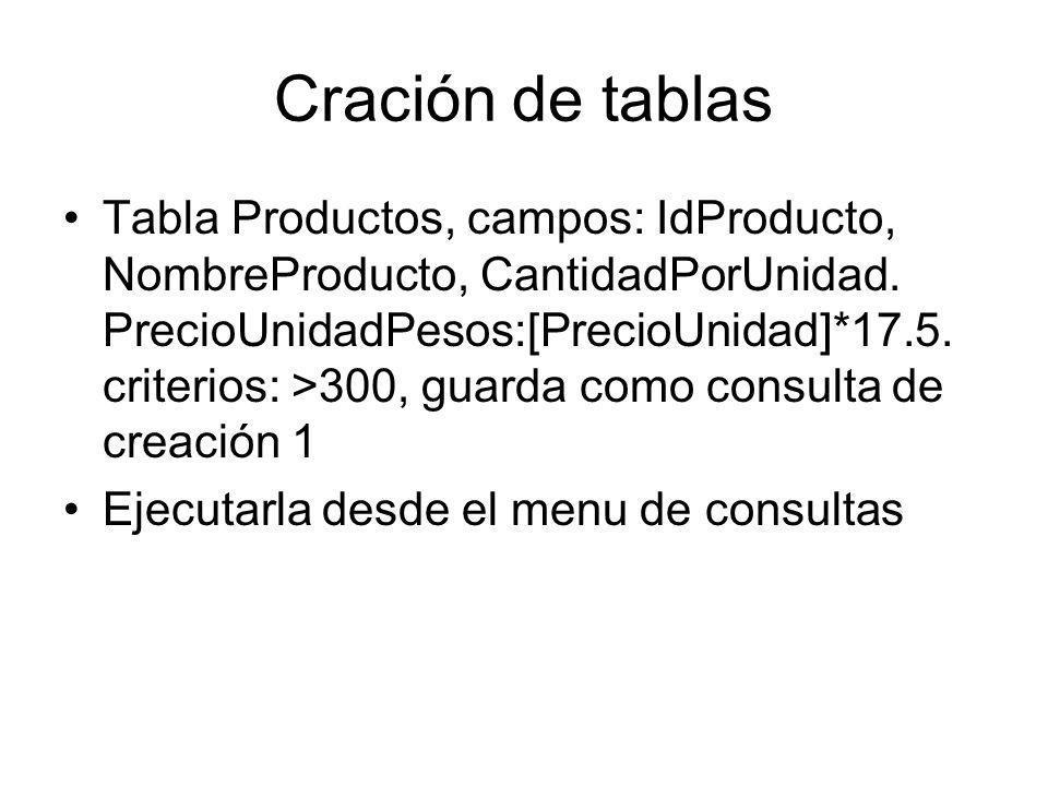 Cración de tablas Tabla Productos, campos: IdProducto, NombreProducto, CantidadPorUnidad. PrecioUnidadPesos:[PrecioUnidad]*17.5. criterios: >300, guar