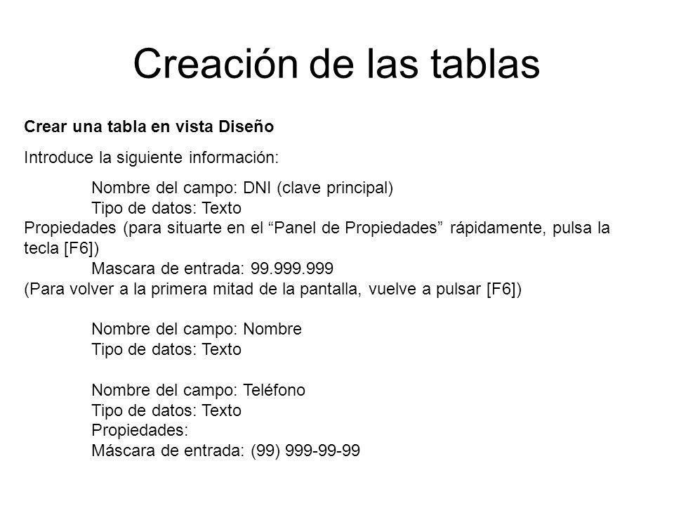 Creación de las tablas Crear una tabla en vista Diseño Introduce la siguiente información: Nombre del campo: DNI (clave principal) Tipo de datos: Text
