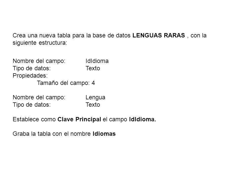 Crea una nueva tabla para la base de datos LENGUAS RARAS, con la siguiente estructura: Nombre del campo: IdIdioma Tipo de datos: Texto Propiedades: Ta