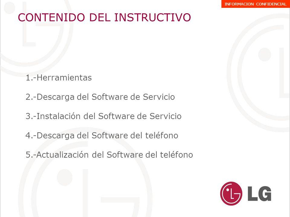Herramientas 1.-Software de Servicio GSMulti V3.0 2.-USB PortMapping 3.-Drivers INFINEON A-GOLDseries 4.-Cable USB Part Nº: SGDY0010901 (T310/T300/A133) INFORMACION CONFIDENCIAL