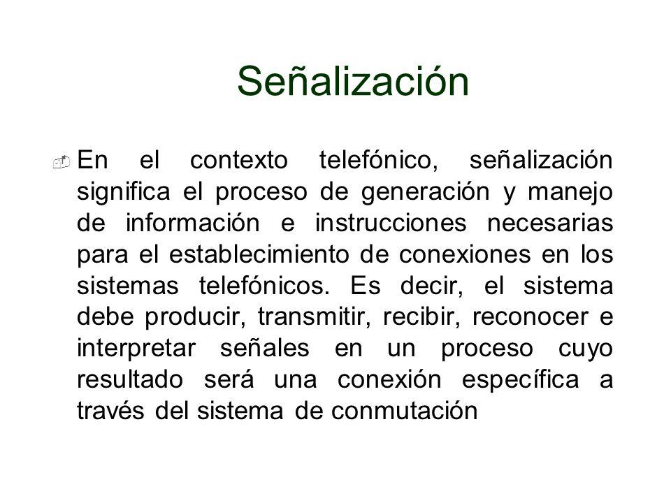 Señalización En el contexto telefónico, señalización significa el proceso de generación y manejo de información e instrucciones necesarias para el est
