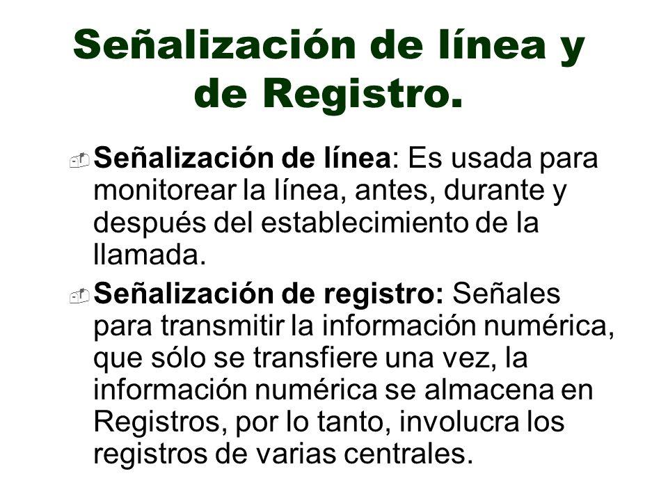 Señalización de línea y de Registro. Señalización de línea: Es usada para monitorear la línea, antes, durante y después del establecimiento de la llam
