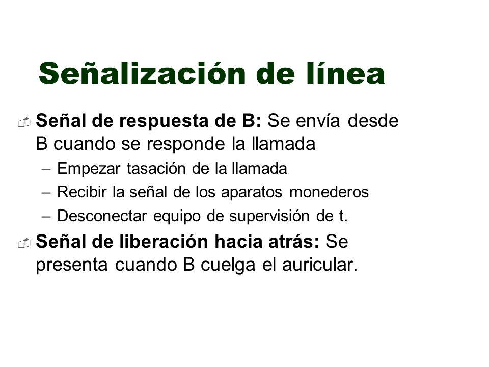 Señal de respuesta de B: Se envía desde B cuando se responde la llamada –Empezar tasación de la llamada –Recibir la señal de los aparatos monederos –D