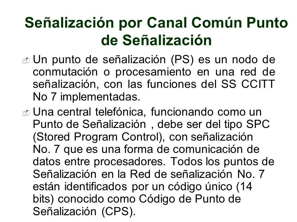 Señalización por Canal Común Punto de Señalización Un punto de señalización (PS) es un nodo de conmutación o procesamiento en una red de señalización,