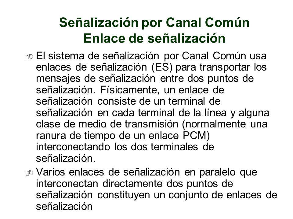 Señalización por Canal Común Enlace de señalización El sistema de señalización por Canal Común usa enlaces de señalización (ES) para transportar los m