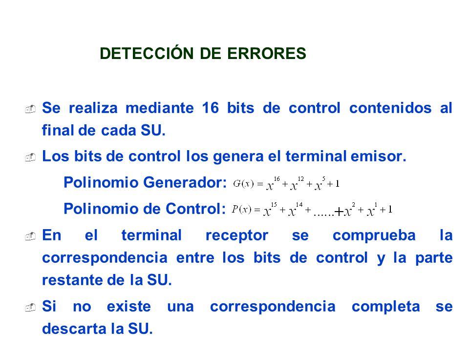 Se realiza mediante 16 bits de control contenidos al final de cada SU. Los bits de control los genera el terminal emisor. Polinomio Generador: Polinom