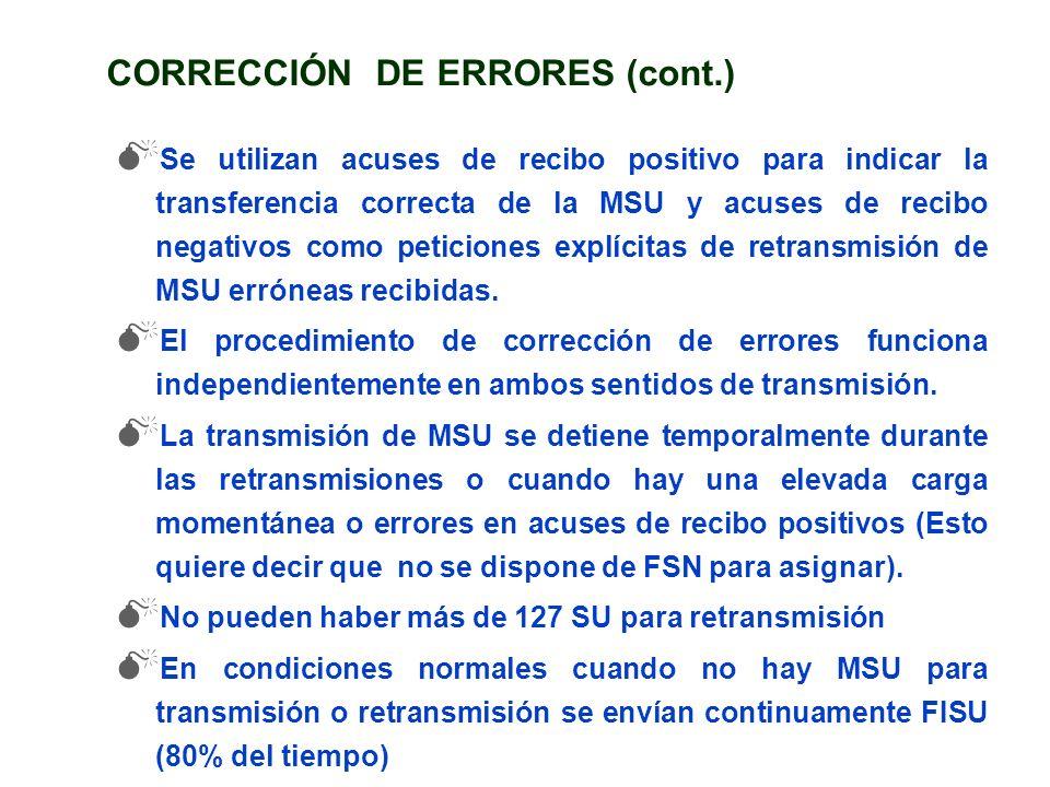 CORRECCIÓN DE ERRORES (cont.) Se utilizan acuses de recibo positivo para indicar la transferencia correcta de la MSU y acuses de recibo negativos como