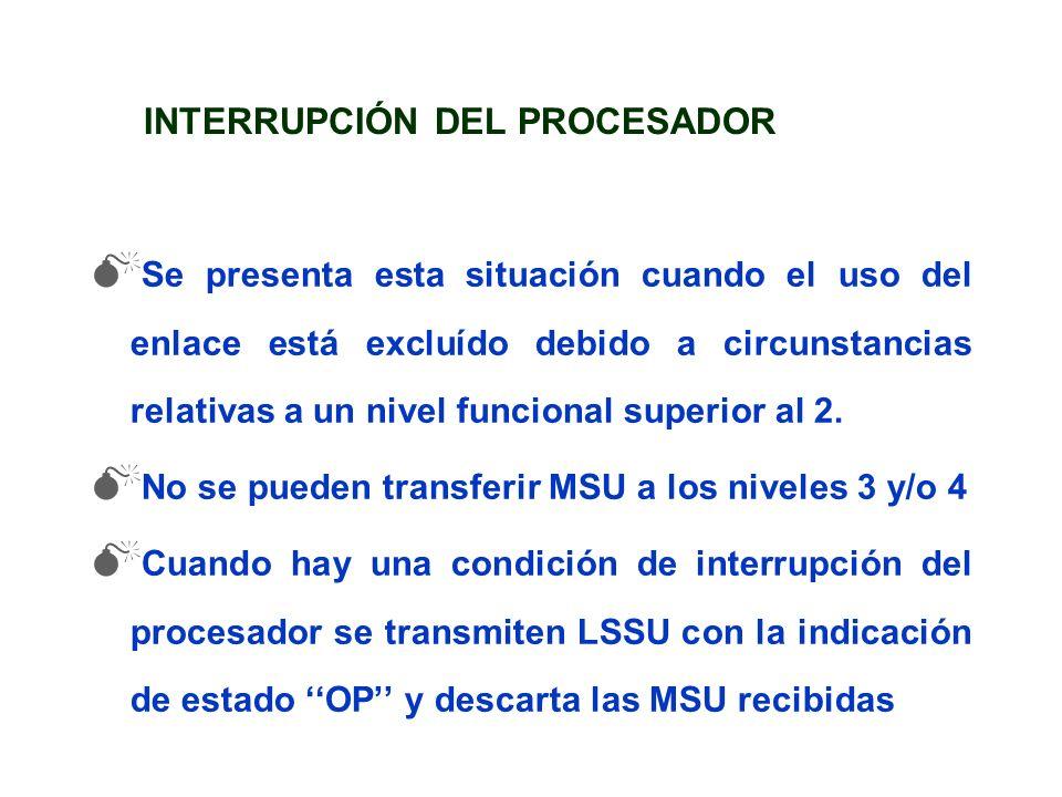 INTERRUPCIÓN DEL PROCESADOR Se presenta esta situación cuando el uso del enlace está excluído debido a circunstancias relativas a un nivel funcional s