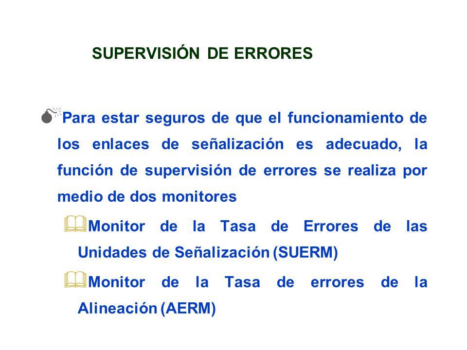 SUPERVISIÓN DE ERRORES Para estar seguros de que el funcionamiento de los enlaces de señalización es adecuado, la función de supervisión de errores se