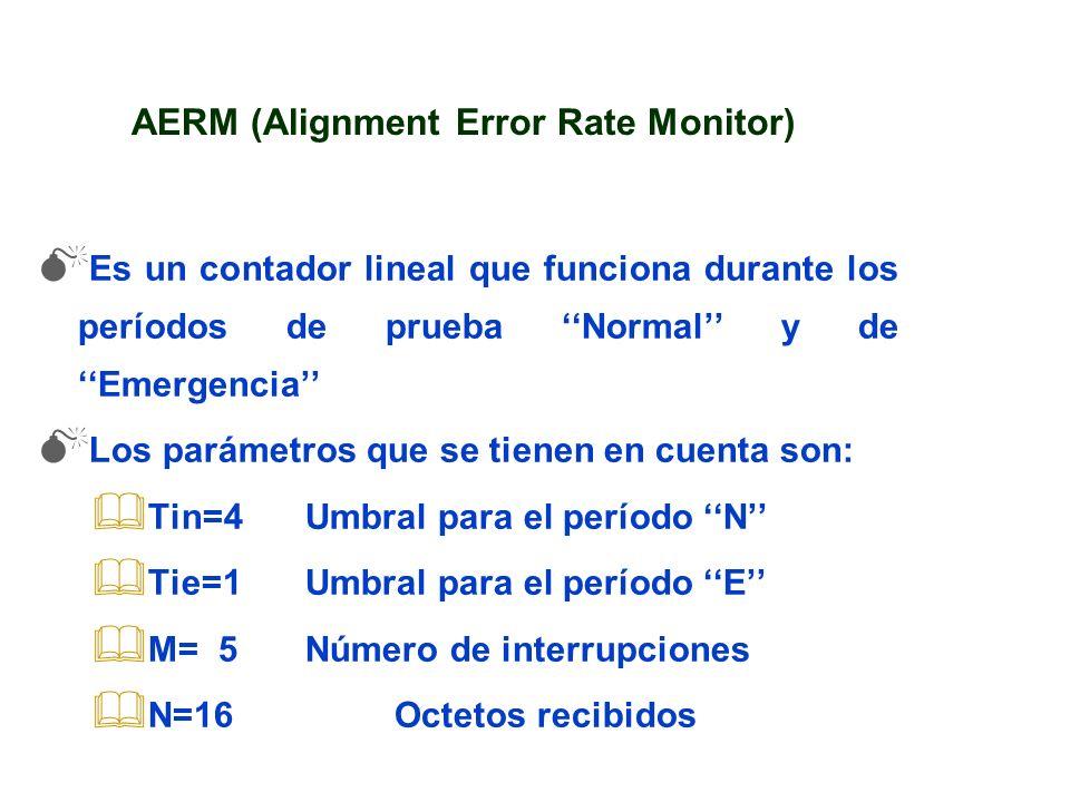 AERM (Alignment Error Rate Monitor) Es un contador lineal que funciona durante los períodos de prueba Normal y de Emergencia Los parámetros que se tie