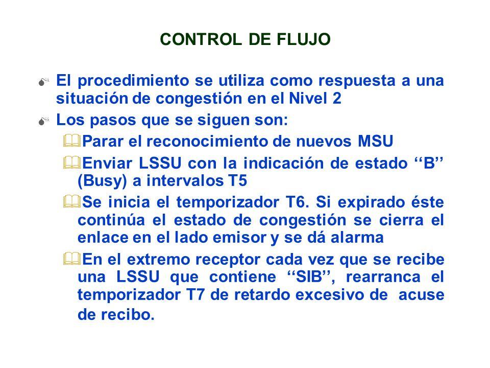 CONTROL DE FLUJO El procedimiento se utiliza como respuesta a una situación de congestión en el Nivel 2 Los pasos que se siguen son: &Parar el reconoc